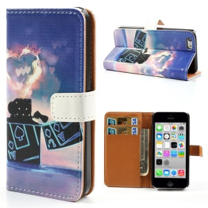 Lighter & Hearts Leather Stand Case Cover w/ Card Slots for iPhone 5c