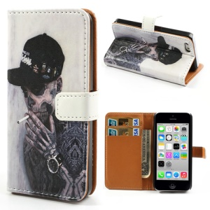 Leather Stand Shell Cover w/ Card Slots for iPhone 5c Evil Smoker Pattern