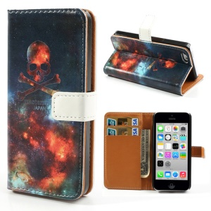 Wallet Leather Shell Case w/ Stand for iPhone 5c Skull & Crossing Bones