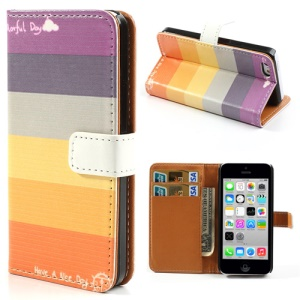 Colorful Horizontal Stripes Leather Shell w/ Stand & Card Slots for iPhone 5c