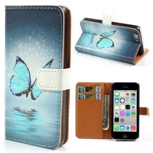 Blue Butterfly for iPhone 5c Phone Protector Leather Case w/ Stand & Card Slots