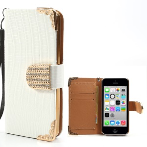 White Crocodile Leather Case for iPhone 5c w/ Wallet & Diamond Magnetic Flap