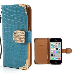 Blue Crocodile Leather Cover for iPhone 5c w/ Wallet & Diamond Magnetic Flap