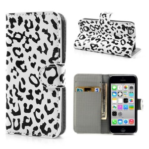 Black & White Leopard Folio Wallet Leather Stand Case for iPhone 5c