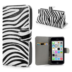 Modish Zebra Stripe for iPhone 5c Protective Leather Case w/ Wallet & Stand