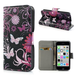Butterfly & Flower Wallet Leather Case Stand for iPhone 5c