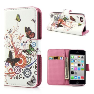 Vivid Butterfly Circle Wallet Leather Case Shell for iPhone 5c