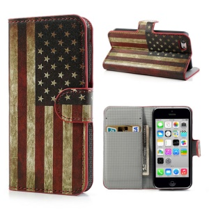 Vintage USA National Flag for iPhone 5c Stand Leather Phone Case