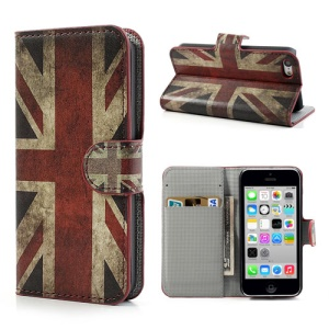 Retro UK National Flag Wallet Style Leather Case Stand for iPhone 5c