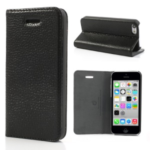 Lychee Skin Genuine Leather Flip Case w/ Stand for iPhone 5c - Black