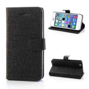 Black Oracle Textured Leather Flip Card Holder Case Cover for iPhone 5C