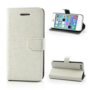White Oracle Textured Leather Flip Card Holder Case Cover for iPhone 5C