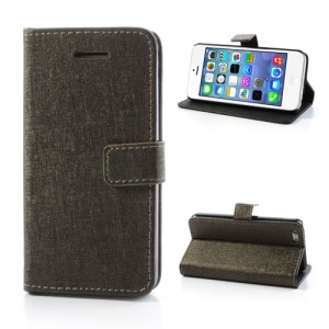 Gold Oracle Textured Leather Flip Card Holder Case Cover for iPhone 5C