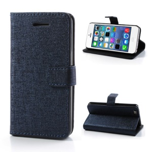 Dark Blue Oracle Textured Leather Flip Card Holder Case Cover for iPhone 5C