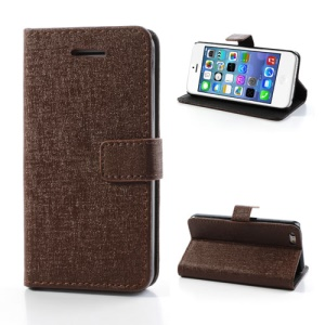 Brown Oracle Textured Leather Flip Card Holder Case Cover for iPhone 5C