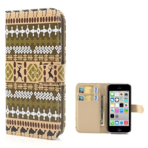 Tribal Geometric Leather Wallet Cover for iPhone 5c - E
