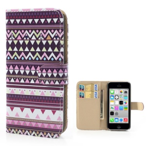 Tribal Geometric Leather Wallet Protective Cover for iPhone 5c - H