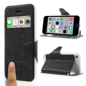 Black LLMM for iPhone 5c View Window Touch Slide Leather Stand Case