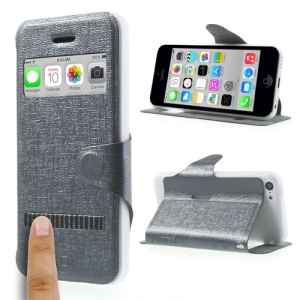 Grey LLMM for iPhone 5c View Window Touch Slide Leather Stand Case