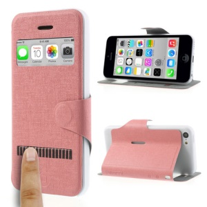 Pink LLMM for iPhone 5c View Window Touch Slide Leather Stand Case