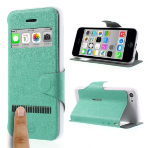 Cyan LLMM for iPhone 5c View Window Touch Slide Leather Stand Cover