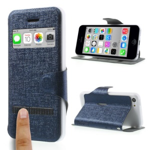 Dark Blue LLMM for iPhone 5c View Window Touch Slide Leather Stand Cover