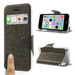 Brown LLMM for iPhone 5c View Window Touch Slide Leather Stand Cover