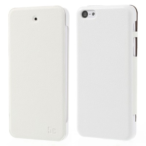 White Zozzle for iPhone 5c Slim Side Flip Protective Leather Case