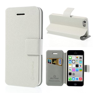 White BILITONG for iPhone 5c Magnetic Fashion Card Wallet Leather Case