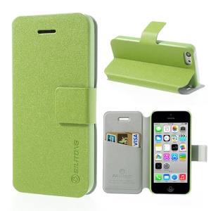 Green BILITONG for iPhone 5c Magnetic Fashion Flip Leather Shell w/ Card Slot & Stand