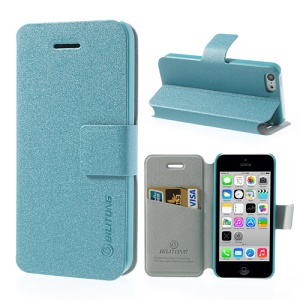 Light Blue BILITONG for iPhone 5c Magnetic Fashion Flip Leather Shell w/ Card Slot & Stand