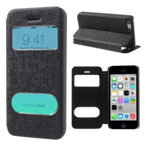 Black Double View Window for iPhone 5c Linen Leather Stand Case