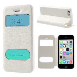 White Double View Window for iPhone 5c Linen Leather Stand Case