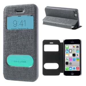 Grey Double View Window for iPhone 5c Linen Leather Stand Case