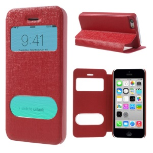 Red Double View Window for iPhone 5c Linen Leather Stand Cover