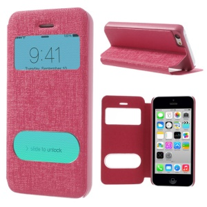 Rose Double View Window for iPhone 5c Linen Leather Stand Cover