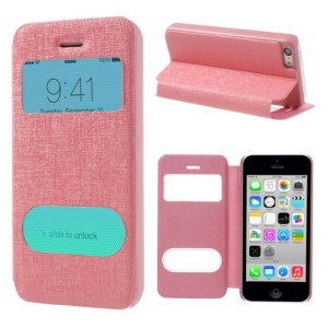 Pink Double View Window for iPhone 5c Linen Leather Stand Cover