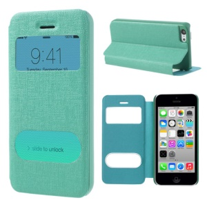 Cyan Double View Window for iPhone 5c Linen Leather Stand Cover