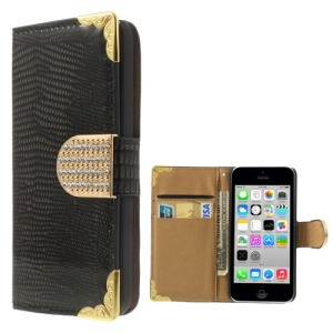 Lizard Pattern Glossy Leather Wallet Case for iPhone 5c w/ Diamond Magnetic Flap - Black