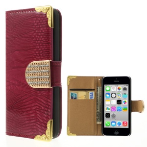 Diamond Magnetic Flap Lizard Pattern Glossy Leather Case Wallet for iPhone 5c - Magenta