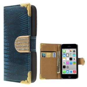 Lizard Pattern Glossy Leather Cover Wallet for iPhone 5c w/ Diamond Magnetic Flap - Blue