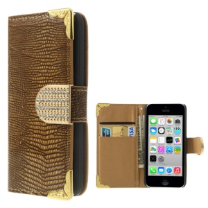 Lizard Pattern Glossy Leather Shell Wallet for iPhone 5c w/ Diamond Magnetic Flap - Brown