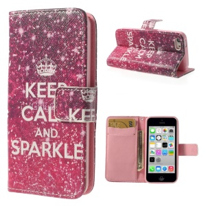 Quote Keep Calm and Sparkle Leather & TPU Wallet Case for iPhone 5c