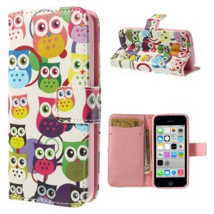 Multiple Owls Leather Leather & TPU Wallet Case for iPhone 5c