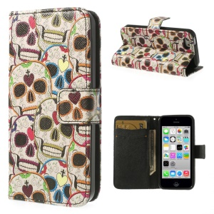 Colorful Skulls for iPhone 5c Leather & TPU Wallet Case