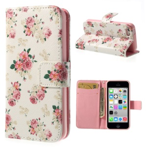 Pretty Flowers for iPhone 5c Leather & TPU Wallet Cover - White Background