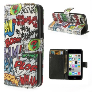 For iPhone 5c Graffiti HAHA BOOM Leather & TPU Wallet Shell Cover