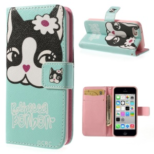 Rebecca Bonbon Dog for iPhone 5c Leather & TPU Wallet Shell Cover