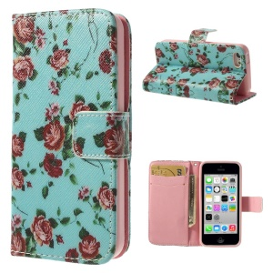 Pretty Flowers for iPhone 5c Leather & TPU Wallet Cover - Blue Background