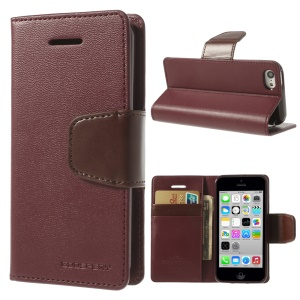 Wine Red Mercury Goospery Sonata Wallet Leather Cover w/ Stand for iPhone 5c